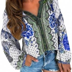Tops - Floral Print Long Sleeve Blouse